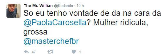 """Ameaçada de agressão no Twitter, Paola Carosella responde: \""""vem me dar na cara, mas lembra que é crime\"""""""
